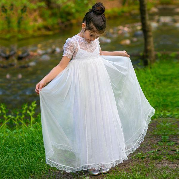 Boho Chic Robes De Fille De Fleur 2018 Vintage Manches Courtes Junior Robe De Demoiselle D'honneur Longueur De Plancher Longueur Bohème Première Communion Robe