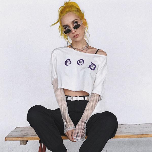 Maglietta bianca di estate della maglietta di impionbatura del cotone dell'anca di schiocco di Pop sciolti
