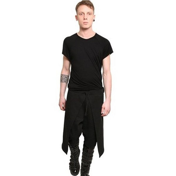 New Arrival Cool Mens Cargo Pants Gothic Punk Style Harem Pants Black Outdoors Hip Hop Wear Skinny Pants Trousers