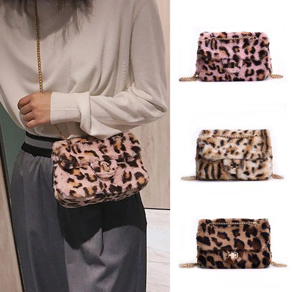 YJSFG HOUSE Brand Fashion Small Women Crossbody bag Faux fur Handbags Plush  Leopard Chains Shoulder Bag e0718616cc6cb
