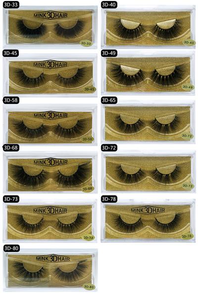High-Grade Mink False Eyelashes Messy style Natural Look Thick 3D Mink Fur Hair Handmade Fake Lashes Black DHL Free