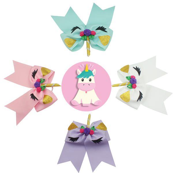 4 Pcs 6 7 Large Size Fashion Unicorn Cheer Bows Elastic Headband For School Girls High Quality Hair Bows Cheerleading Headwear