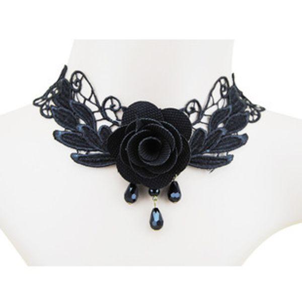 Toda sale2015 Personalidad de la moda europea y americana Gótico Negro Encaje Rosas Mujeres Collar de cristal Joyería Al por mayor Envío gratuito