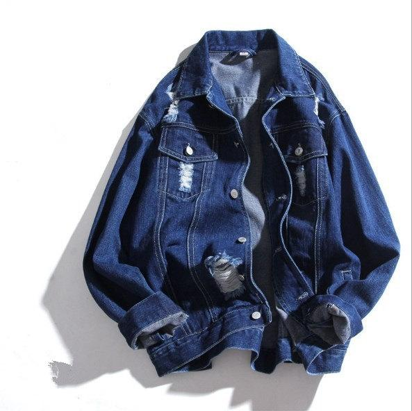 Korean Fashion Men's Casual Loose Denim Jackets and Coats Spring Autumn Turn Down Collar Ripped Jeans Jacket with Holes Outwear