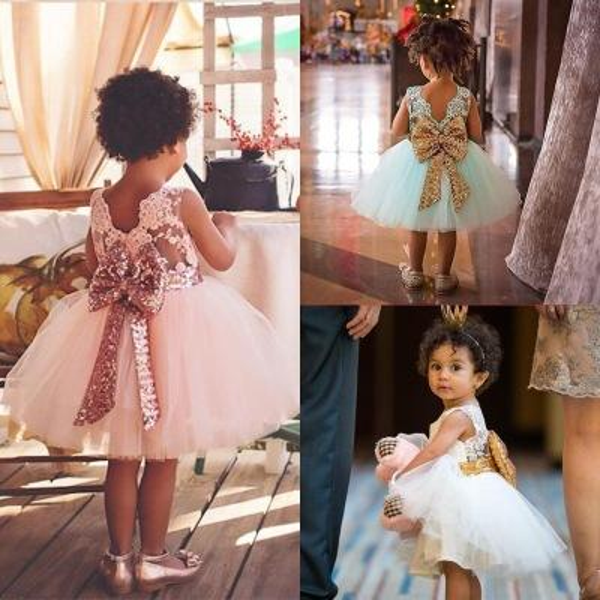 3 Color Girl lace paillette camisole dress kids baby princess party bowknot Rainbow colors sleeveless tutu Dress skirt B001