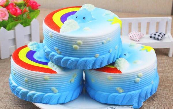 Jumbo 12CM Squishy Bread with fragrant Ocean Cake Kawaii Cute Charm Slow Rising Bread Bun Kid Toy Gift Fun Epacket Free