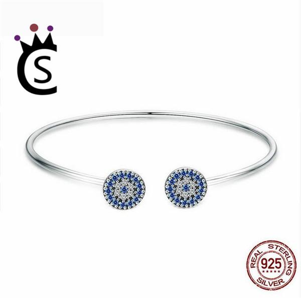 2018 New 100% 925 Sterling Silver Lucky Blue Eyes Blue CZ Women Open Cuff Bangle & Bracelet Luxury Silver Jewelry