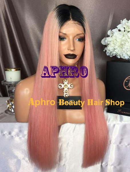 "Luxury Glueless Silk Top ombre Black to Pink Full Lace Wigs Brazilian Hair 5x5 inch Silk 20""-30"" 180% Density 1B Pink Straight Lace Wigs"