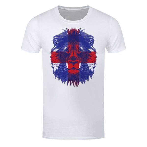 Лев Святого Георгия мужская Белый футбол футболка мода классический свободные высокое качество личности дышащий лето печати О-образным вырезом футболка
