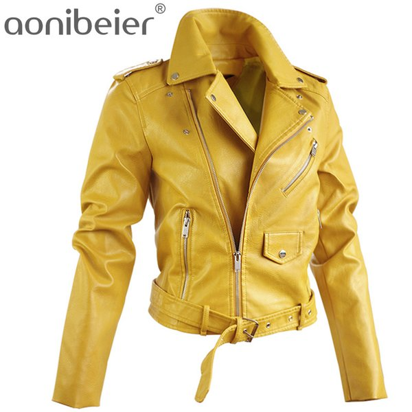 2018 Kunstjacken Herbst Street Short Washed PU Jacke Reißverschluss Basic Jacken Schlank Damen Mäntel Outwear