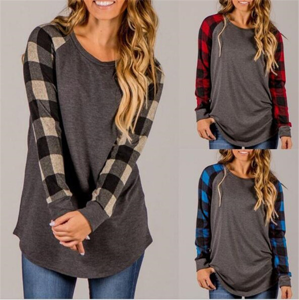 top popular Plaid Patchwork Long Sleeve Shirts Women Casual Round Neck Tops Grid Printed Blouse Round Neck Checks T-shirts M140 2020