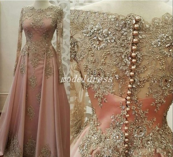 best selling Glamorous Blush Dubai Formal Evening Dresses Long Sleeve Jewel Sweep Train Appliques Beaded Special Occasion Dress Prom Party Gowns 2019