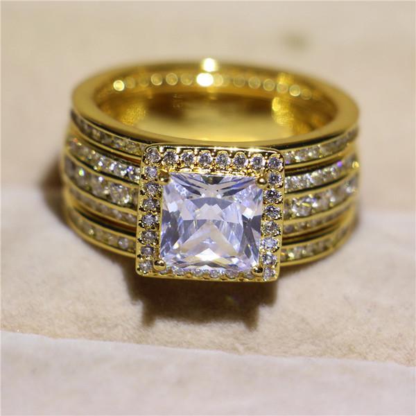 2019 Luxurious Golden Sterling Silver Wedding Diamond Ring Set 5a