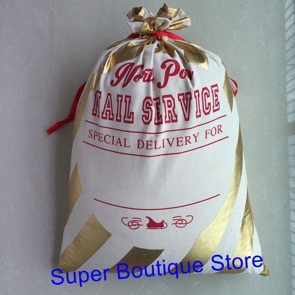 Wholesale cheap good quality hot selling monogram personalize gold stripe santa sack Christmas gift bags large santa sacks kids candy bag