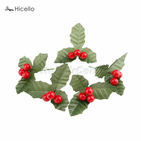 10PCS Artificial Berries 15mm leaves Christmas Wedding Birthday Party Garden Home Shop Decoration DIY Craft Tool Y18102909