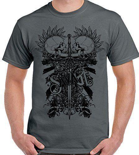 Savage-Iki Serseri Kafatasları-Mens T-Shirt Biker Motosiklet Motosiklet Kaya Müzik T-Shirt Kısa Kollu Moda T gömlek