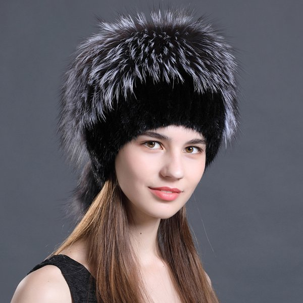 48158478074 Real Mink Fur Cap For Women Natural Mink Hats Knit Winter Beanies Vertical  Weaving With Fluffy