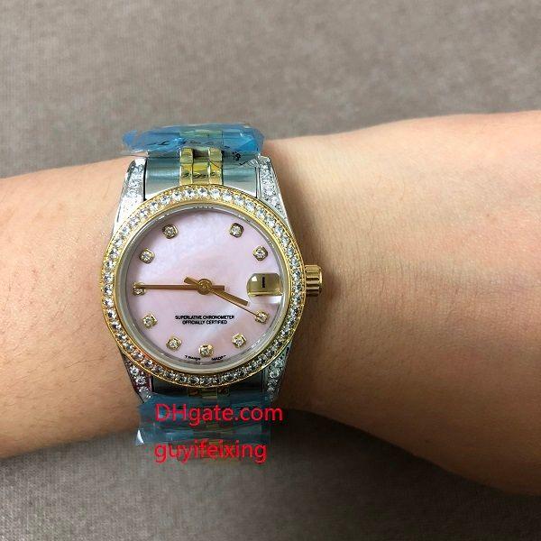 Montres de luxe pour dames de taille moyenne 31mm 178383 Diamant Datejust Blanc Shell Cadran Or 18K SS Automatique Femmes montre