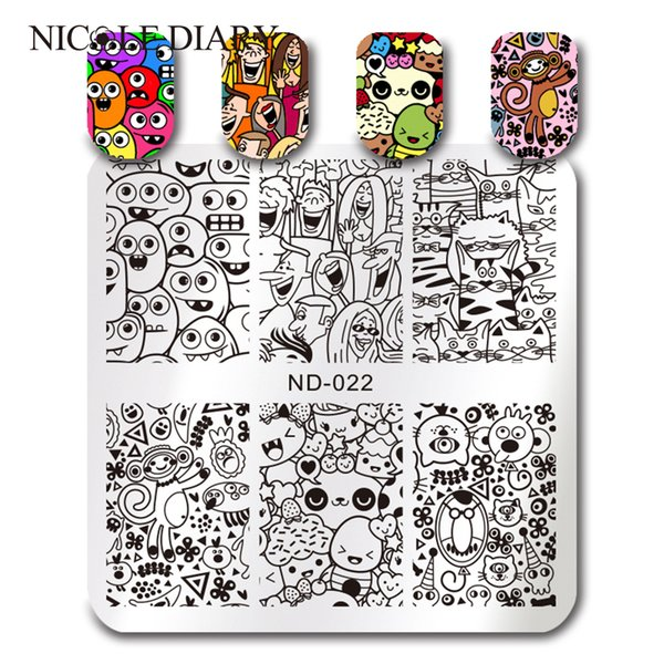 NICOLE DIARY Square Stamping Template Cute Cartoon Animals Monkey Cat Nail Art Stamp Image Plate 6*6cm ND-022