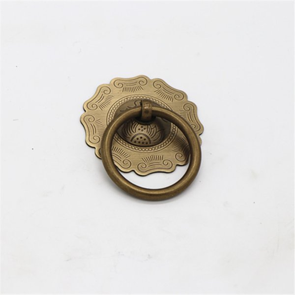 Cut flowers antique solid simple drawer knob furniture hardware cabinet wardrobe shoe door single hole handle round cone pull