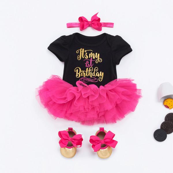 Bebek Kız 1 Doğum Prenses Tutu Etek 0-24 Ay Yenidoğan Bebek tulum Elbiseler Pamuk tulum + Gül Tutu etek + Ayakkabı + Kafa = 4PCS / Seti