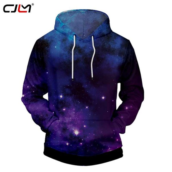 CJLM Women Hoodies Blue New Arrivals Fashion Print Galaxy Space Star 3d Sweatshirt Hoodie Casual O-neck Pullovers Blouses Unisex