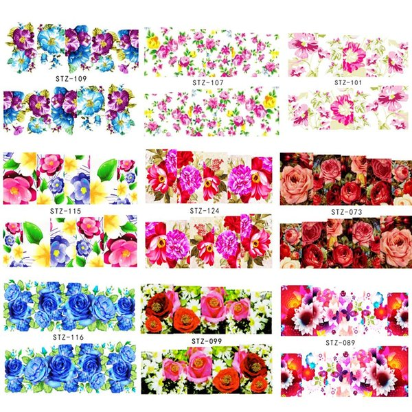 50pcs Mixed Flower Designs Full Wraps Nail Art Water Transfer Stickers Nail Tips Decals Beauty Manicure Decor Tool BESTZ086-133