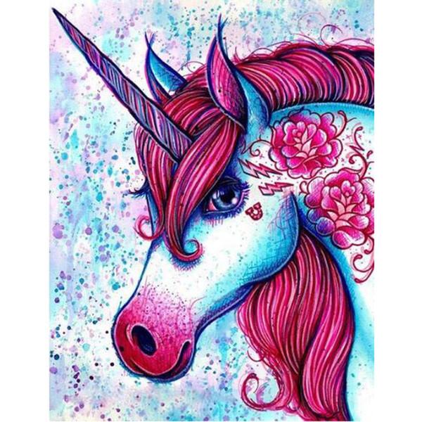 Satın Al Sayılar Kit Tarafından Diy Boya çerçeveli Tuval Veya çerçevesiz Ile Yetişkinler Başlayanlar Için Renkli Unicorn Boyama çocuklar Için Yatak