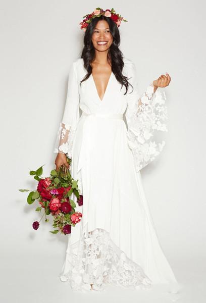 Boho Lace Chiffon Beach Wedding Dresses 2018 Long Bell Sleeves Deep V Neck Bohemian Floral Lace Elegant Wedding Dress Custom Plus Size