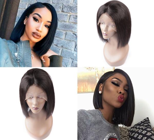 Hochwertige schwarze lange gerade Menschenhaarperücken mit Baby-Haar hitzebeständige glueless synthetische Lace Front Perücken für schwarze Frauen