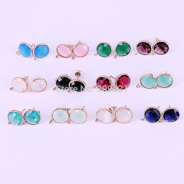 10pair Mix Color Faceted Stone Stud Earrings, Gold Frame Crystal Glass Gem Earring Findings