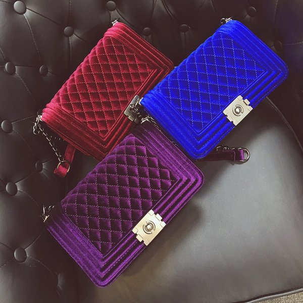 Fashion Female Velvet Chain Bags Female Embroidered Shoulder Bag Lady Diamond Lattice Bags