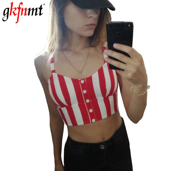 Crop Top Mujer Camisole Tank Summer Button BTS Bralette Fashion Sexy Strappy Striped Black White Red Women Shirt Fitness Clothes