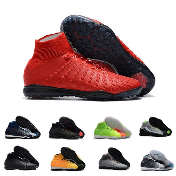 hot sale socks soccer shoes for men Hypervenom X Proximo II DF TF high ankle black orange air cushion football shoes size39-45