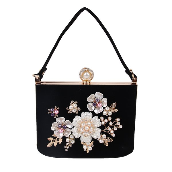 Ladies Velvet Clutch Pearl Crystal Evening Bags Women Velour Party Wedding Hand Bag Bridal Luxury Mini Day Purse bolsos