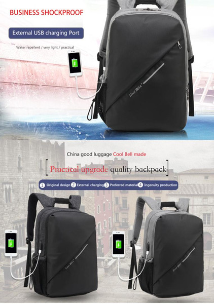 Waterproof fashion 15.6 inch with USB port laptop backpack leisure bag travel bag function backpack