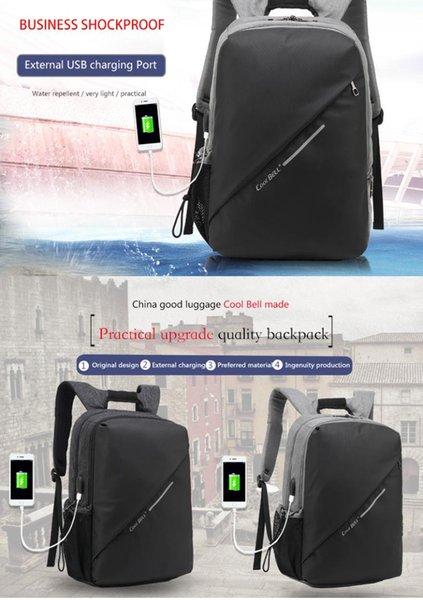 Mode imperméable 15.6 pouces avec port USB ordinateur portable sac à dos sac de loisirs sac de voyage fonction sac à dos