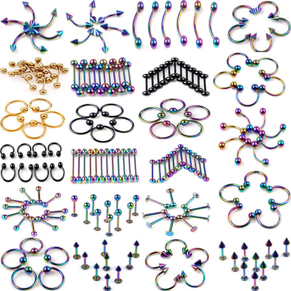 120Pcs Body Jewelry Eyebrow Navel Belly Tongue Nose Piercing Bar Ring