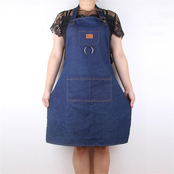top popular Men And Women Waiter Milk Tea Shop Work Aprons Thickening Denim Apron Cook Coverall Simple Durable Hot Sale13cl aa 2020