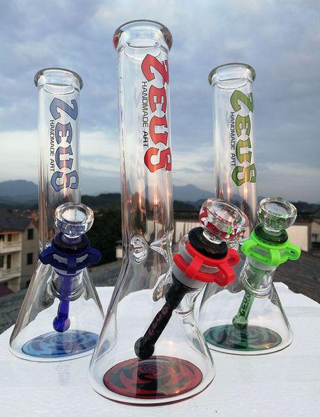 "Hot selling 10""beaker bong water pipes Rasta design oil rig handmade brand bongs glass pipes 18.8mm joint or buy smoking accessories"