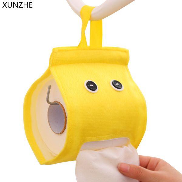 XUNZHE 1pcs New Cartoon Elfin Napkin Storage Box Cute Roll Paper Extract Cloth Bag Hone Kitchen Bathroom Hanging Tissue Holder