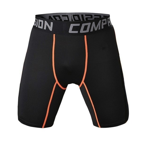 Running Sport Men Basketball Tight Compression Shorts Gym Fitness Clothing Training Wicking Short Pants Homme orange