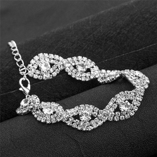 Strass Banhado A Prata Pulseiras De Cristal Para As Mulheres Da Moda Jóias Strass Pulseiras Bangles Jóias De Casamento