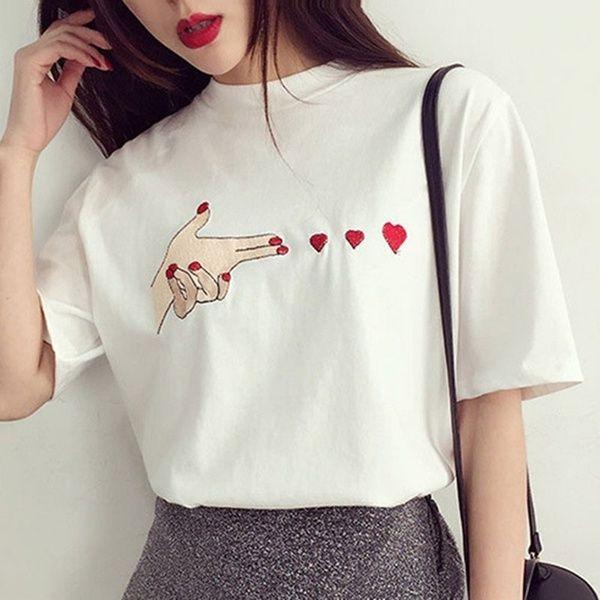 Summer Short Sleeve Girls Blouse Casual Cotton Women Short Sleeve Loose Tops T-shirt for Lovers XYZ