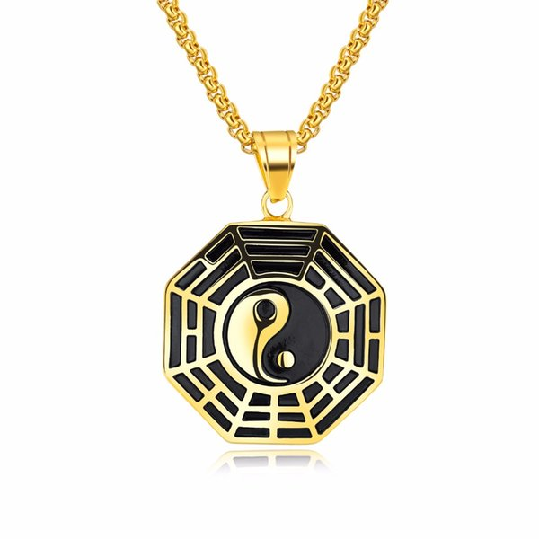 Classic Chinese Mystical Yin Yang Pendant Necklace Stainless Steel Necklaces Bagua Pendant For Men Necklace Jewelry
