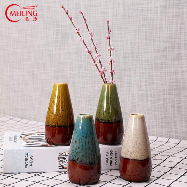 MEILING Accueil Décoration Accessoires Moderne Vase Vitrage Céramique Fleur Vases À La Main Petit Vase Décoratif pour Hôtel Bar Bureau
