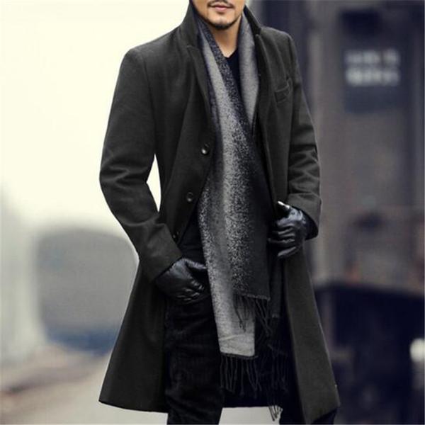 Acheter Manteau En Laine Pour Homme Veste En Cachemire D'hiver Homme Longue Section Simple Pardessus Pardessus Col Rabattu Mode Européenne De Style