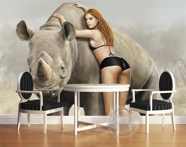 Benutzerdefinierte luxus qualität HD schönheit beast afrikanische wiese intime rhinoceros 3d große tapete malerei wohnkultur tapete