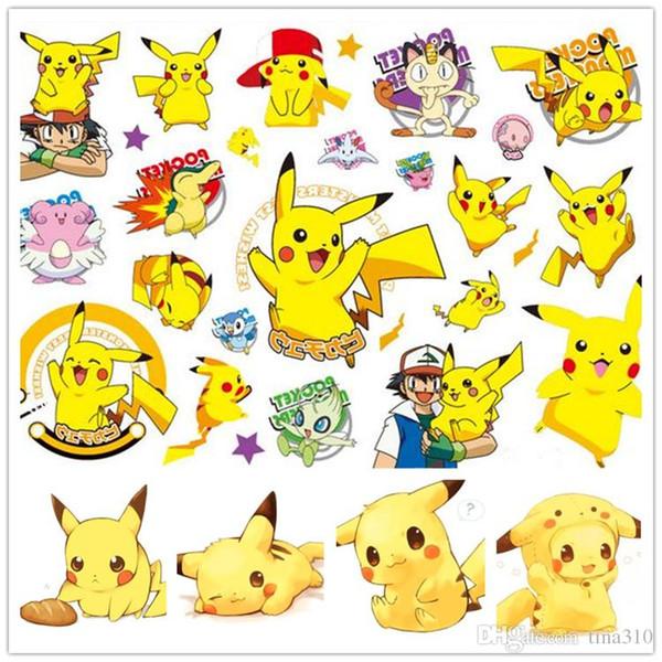 Yeni Moda Çocuk Karikatür Pikachu 3D Çıkartmaları Geçici Dövme Kreş Çocuk Çocuklar için ody Kol Dövme Macun Kağıt Çocuk Oyuncakları B0423