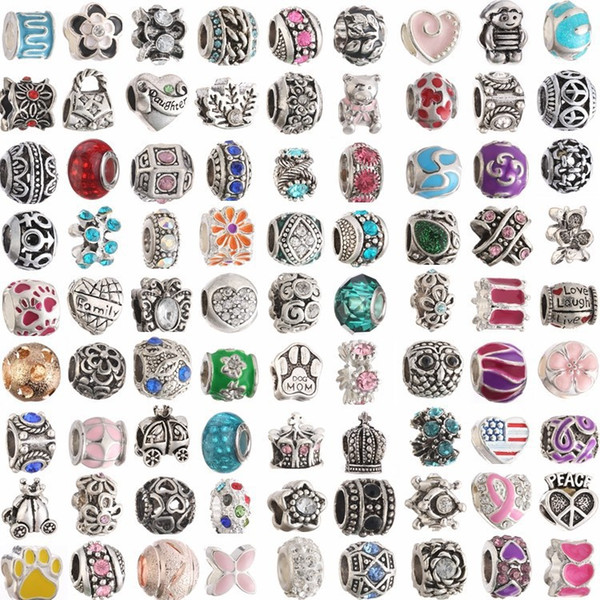 best selling Mix Colors Metal ENAMEL Big Hole Loose Beads Charm For charm bracelet DIY JEWELRY MAKING